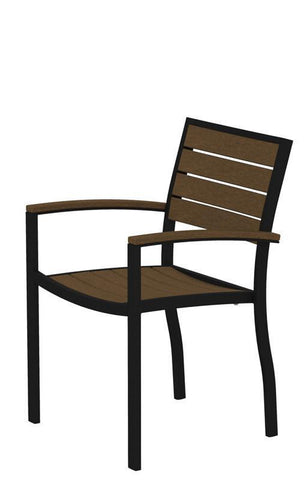 Polywood A200FABTE Euro Dining Arm Chair in Textured Black Aluminum Frame / Teak - PolyFurnitureStore