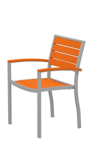 Polywood A200FASTA Euro Dining Arm Chair in Textured Silver Aluminum Frame / Tangerine - PolyFurnitureStore