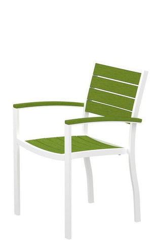 Polywood A200FAWLI Euro Dining Arm Chair in Gloss White Aluminum Frame / Lime - PolyFurnitureStore