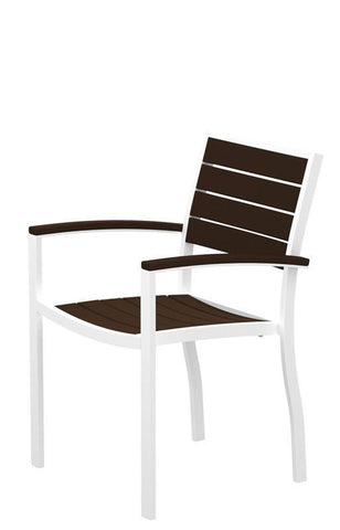 Polywood A200FAWMA Euro Dining Arm Chair in Gloss White Aluminum Frame / Mahogany - PolyFurnitureStore