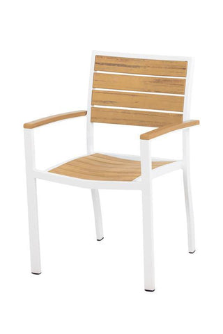 Polywood A200FAWNT Euro Dining Arm Chair in Gloss White Aluminum Frame / Plastique - PolyFurnitureStore