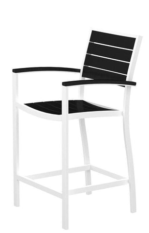 Polywood A201-13BL Euro Counter Arm Chair in Textured White Aluminum Frame / Black - PolyFurnitureStore