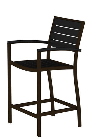 Polywood A201-16BL Euro Counter Arm Chair in Textured Bronze Aluminum Frame / Black - PolyFurnitureStore