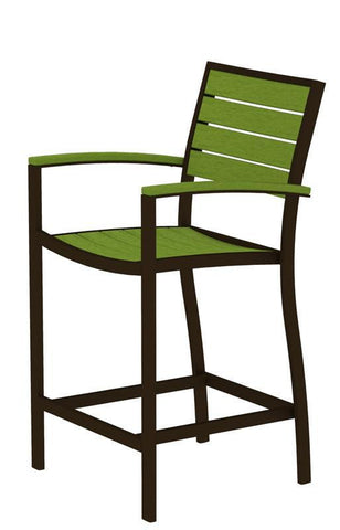 Polywood A201-16LI Euro Counter Arm Chair in Textured Bronze Aluminum Frame / Lime - PolyFurnitureStore
