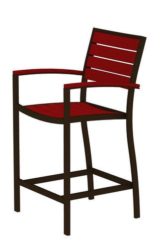 Polywood A201-16SR Euro Counter Arm Chair in Textured Bronze Aluminum Frame / Sunset Red - PolyFurnitureStore