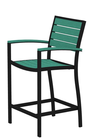 Polywood A201FABAR Euro Counter Arm Chair in Textured Black Aluminum Frame / Aruba - PolyFurnitureStore