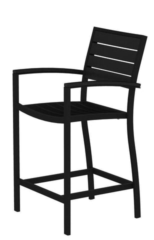 Polywood A201FABBL Euro Counter Arm Chair in Textured Black Aluminum Frame / Black - PolyFurnitureStore