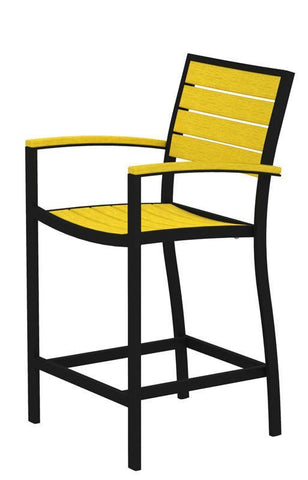 Polywood A201FABLE Euro Counter Arm Chair in Textured Black Aluminum Frame / Lemon - PolyFurnitureStore