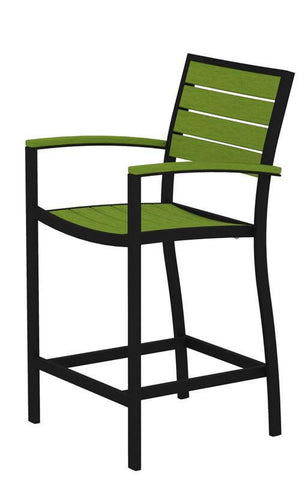 Polywood A201FABLI Euro Counter Arm Chair in Textured Black Aluminum Frame / Lime - PolyFurnitureStore