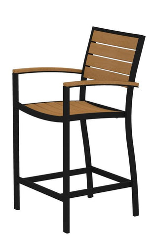 Polywood A201FABNT Euro Counter Arm Chair in Textured Black Aluminum Frame / Plastique - PolyFurnitureStore
