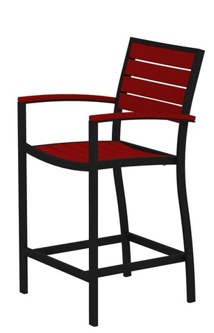 Polywood A201FABSR Euro Counter Arm Chair in Textured Black Aluminum Frame / Sunset Red - PolyFurnitureStore