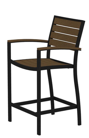 Polywood A201FABTE Euro Counter Arm Chair in Textured Black Aluminum Frame / Teak - PolyFurnitureStore