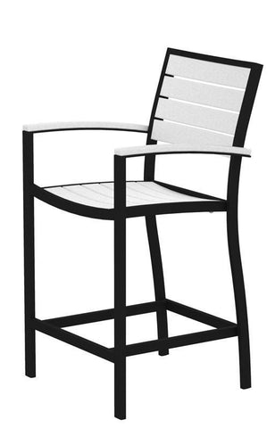 Polywood A201FABWH Euro Counter Arm Chair in Textured Black Aluminum Frame / White - PolyFurnitureStore
