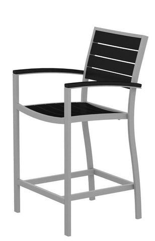 Polywood A201FASBL Euro Counter Arm Chair in Textured Silver Aluminum Frame / Black - PolyFurnitureStore