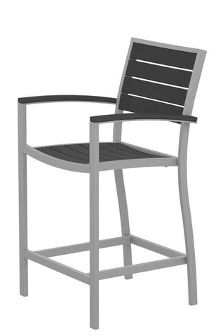 Polywood A201FASGY Euro Counter Arm Chair in Textured Silver Aluminum Frame / Slate Grey - PolyFurnitureStore