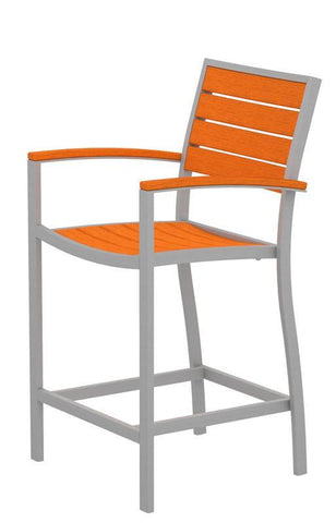 Polywood A201FASTA Euro Counter Arm Chair in Textured Silver Aluminum Frame / Tangerine - PolyFurnitureStore
