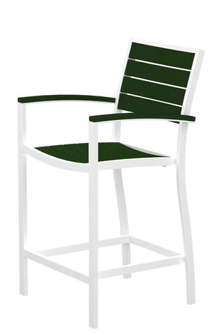 Polywood A201FAWGR Euro Counter Arm Chair in Gloss White Aluminum Frame / Green - PolyFurnitureStore