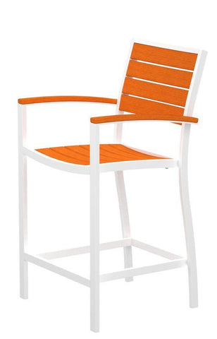 Polywood A201FAWTA Euro Counter Arm Chair in Gloss White Aluminum Frame / Tangerine - PolyFurnitureStore