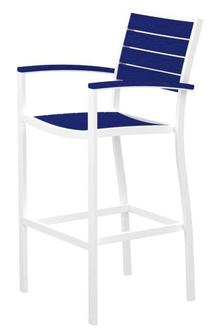 Polywood A202-13PB Euro Bar Arm Chair in Textured White Aluminum Frame / Pacific Blue - PolyFurnitureStore