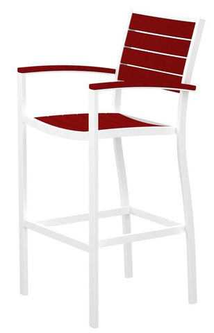 Polywood A202-13SR Euro Bar Arm Chair in Textured White Aluminum Frame / Sunset Red - BarstoolDirect.com