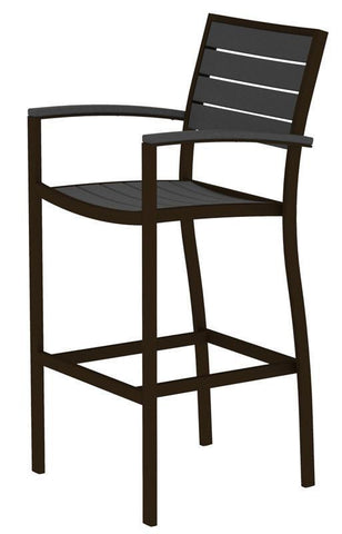 Polywood A202-16GY Euro Bar Arm Chair in Textured Bronze Aluminum Frame / Slate Grey - PolyFurnitureStore