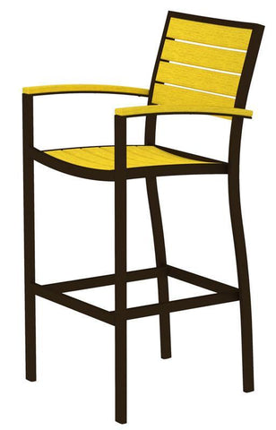 Polywood A202-16LE Euro Bar Arm Chair in Textured Bronze Aluminum Frame / Lemon - PolyFurnitureStore