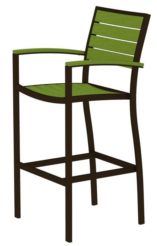 Bar Arm Chair Textured Bronze Aluminum Frame Lime Euro 4451 Product Photo