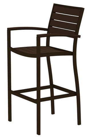 Polywood A202-16MA Euro Bar Arm Chair in Textured Bronze Aluminum Frame / Mahogany - PolyFurnitureStore