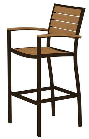 Polywood A202-16NT Euro Bar Arm Chair in Textured Bronze Aluminum Frame / Plastique - PolyFurnitureStore