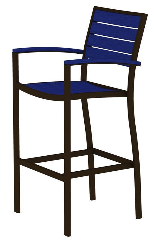 Bar Arm Chair Textured Bronze Aluminum Frame Pacific Blue Euro 4451 Product Photo