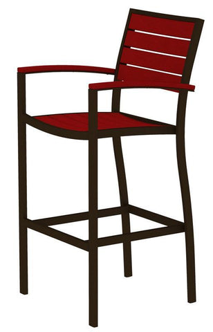 Polywood A202-16SR Euro Bar Arm Chair in Textured Bronze Aluminum Frame / Sunset Red - PolyFurnitureStore