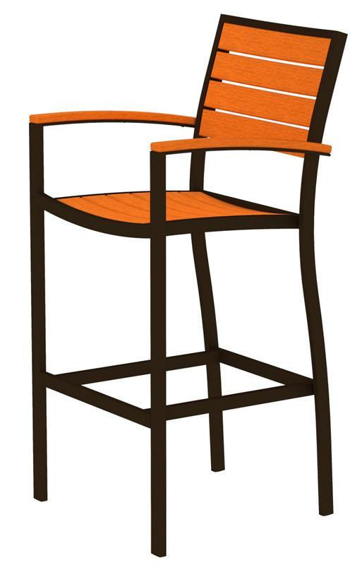 Polywood Bar Arm Chair Textured Bronze Aluminum Frame Tangerine Euro