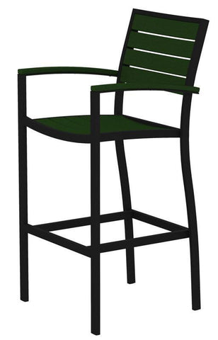 Polywood A202FABGR Euro Bar Arm Chair in Textured Black Aluminum Frame / Green - PolyFurnitureStore