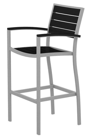 Polywood A202FASBL Euro Bar Arm Chair in Textured Silver Aluminum Frame / Black - PolyFurnitureStore