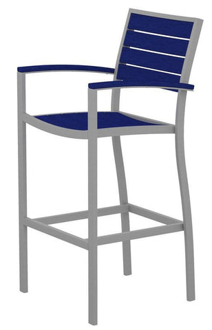 Polywood A202FASPB Euro Bar Arm Chair in Textured Silver Aluminum Frame / Pacific Blue - PolyFurnitureStore