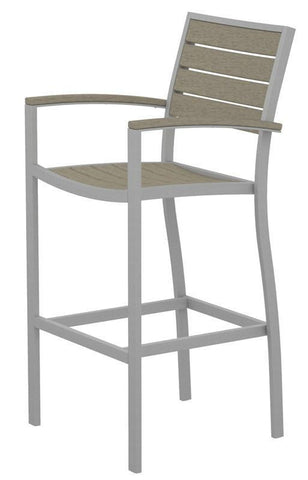 Polywood A202FASSA Euro Bar Arm Chair in Textured Silver Aluminum Frame / Sand - PolyFurnitureStore