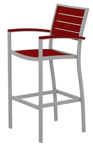 Polywood A202FASSR Euro Bar Arm Chair in Textured Silver Aluminum Frame / Sunset Red - PolyFurnitureStore