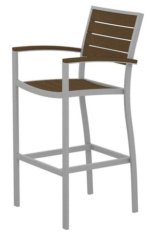 Polywood A202FASTE Euro Bar Arm Chair in Textured Silver Aluminum Frame / Teak - PolyFurnitureStore