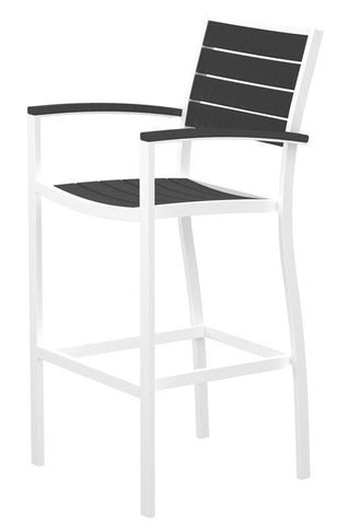 Polywood A202FAWGY Euro Bar Arm Chair in Gloss White Aluminum Frame / Slate Grey - PolyFurnitureStore