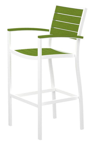 Polywood A202FAWLI Euro Bar Arm Chair in Gloss White Aluminum Frame / Lime - PolyFurnitureStore