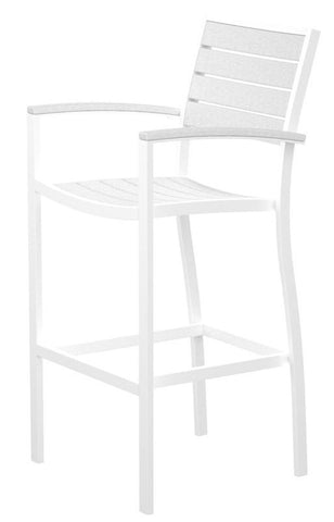 Polywood A202FAWWH Euro Bar Arm Chair in Gloss White Aluminum Frame / White - BarstoolDirect.com