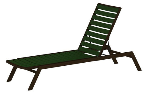 Polywood AC1-16GR Euro Chaise in Textured Bronze Aluminum Frame / Green - PolyFurnitureStore