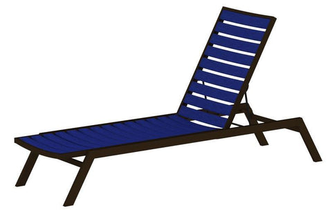 Polywood AC1-16PB Euro Chaise in Textured Bronze Aluminum Frame / Pacific Blue - PolyFurnitureStore