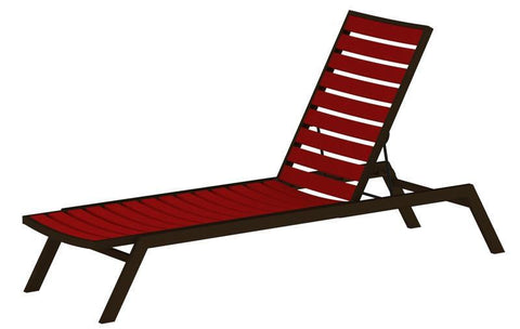 Polywood AC1-16SR Euro Chaise in Textured Bronze Aluminum Frame / Sunset Red - PolyFurnitureStore