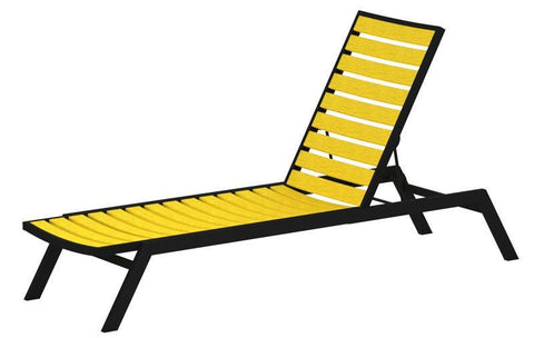 Polywood AC1FABLE Euro Chaise in Textured Black Aluminum Frame / Lemon - PolyFurnitureStore