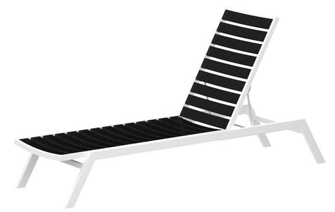 Polywood AC1FAWBL Euro Chaise in Gloss White Aluminum Frame / Black - PolyFurnitureStore