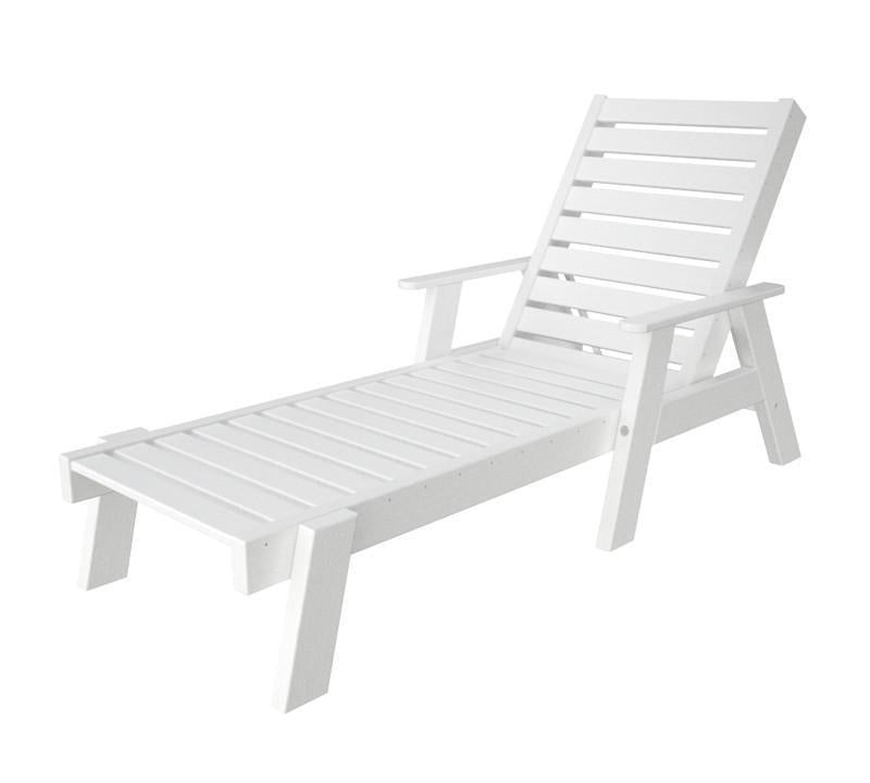 Polywood Chaise Arms White Captain