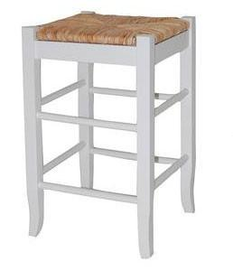 "Boraam 29"" Square Rush Stool - White 94329 - BarstoolDirect.com"