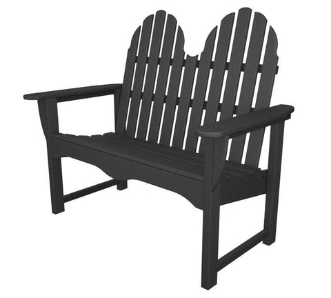 "Polywood ADBN-1GY Classic Adirondack 48"" Bench in Slate Grey - PolyFurnitureStore"