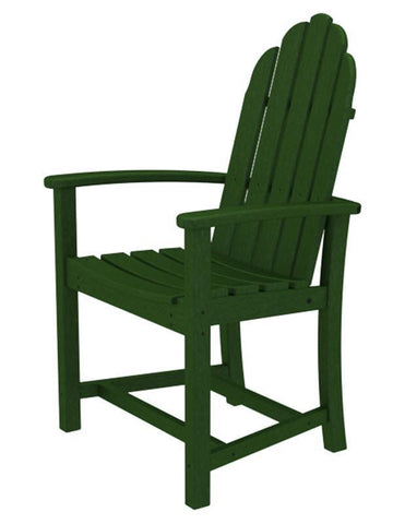Polywood ADD200GR Classic Adirondack Dining Chair in Green - PolyFurnitureStore